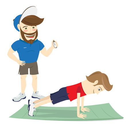 personal trainer: Vector illustration Bearded fitness personal trainer instructor and funny sportsman doing abs exercises, push-ups or plank pose on mat Illustration