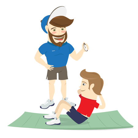 personal trainer: Vector illustration  Bearded fitness personal trainer instructor and funny sportsman doing abs exercises on mat