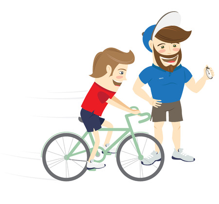 personal trainer: Vector illustration Bearded fitness personal trainer instructor and funny sportsman cycling. Flat style