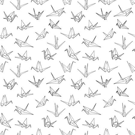 手描き落書きクレーン鳥のベクトル図のシームレスなパターン背景