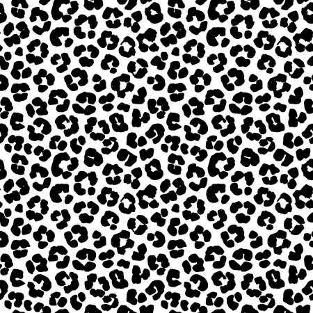 leopard print: Vector illustration Leopard print seamless background pattern. Black and white