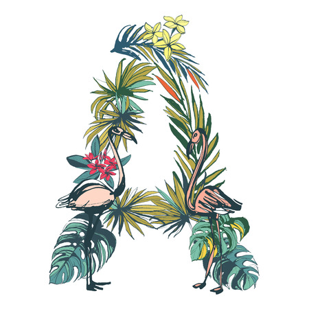 isolated: Vector illustration Tropical floral summer pattern hand drawn ornamental font set with palm beach leaves, flowers, flamingo and toucan birds. Letter A
