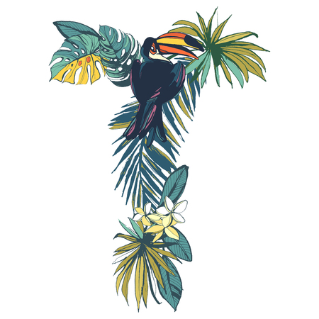 alphabet tree: Vector illustration Tropical floral summer pattern hand drawn ornamental font set with palm beach leaves, flowers, flamingo and toucan birds. Letter T Illustration
