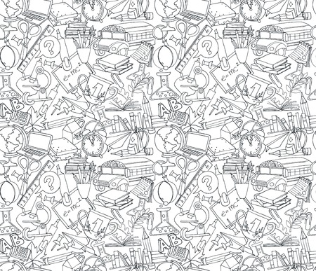 illustration Back to school seamless pattern of kids doodles with bus, books, computer, blackboard and world map