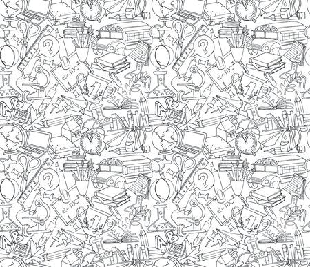 ilustración Volver a la escuela sin fisuras patrón de los niños garabatos con autobús, libros, ordenador, la pizarra y el mapa del mundo
