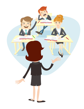 illustration Funny group of university students or school pupils and the teacher or professor at their desks listening and answer the lesson. Light flat style design. Two boys (men) and one girl (woman)