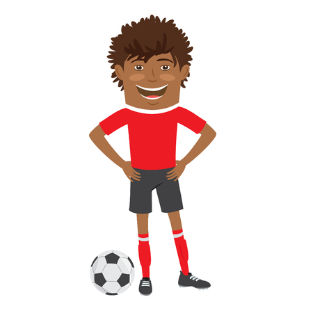 red tshirt: illustration Funny African American soccer football player wearing red t-shirt standing with a ball and smiling Illustration