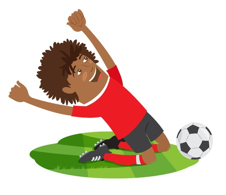 knee boots: illustration Funny African American soccer football player wearing red t-shirt enjoying the victory on his knees Illustration
