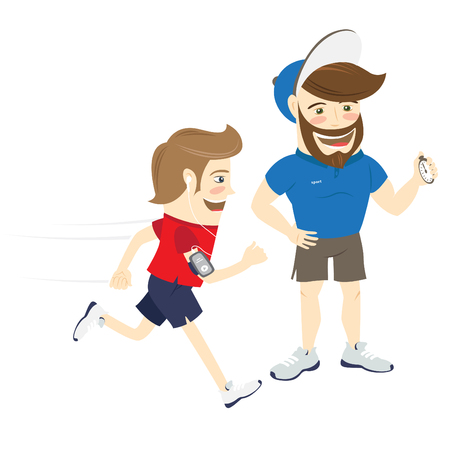 illustration Bearded fitness personal trainer instructor and funny sportsman running and listening music. Flat style