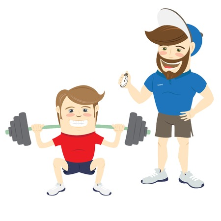 personal trainer: illustration Bearded fitness personal trainer instructor and funny sportsman doing squats with barbell