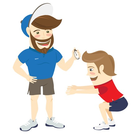 personal trainer: illustration Bearded fitness personal trainer instructor and funny sportsman doing squats