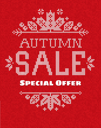 sew tags: Vector illustration  Handmade knitted seamless abstract background pattern with Autumn sale Special offer  text and frame with fall maple leaves and berries