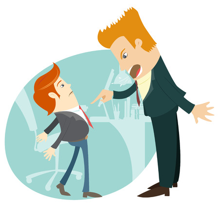 dismiss: Vector illustrationAngry businessman screaming and pointing on the manager at their office. Flat style