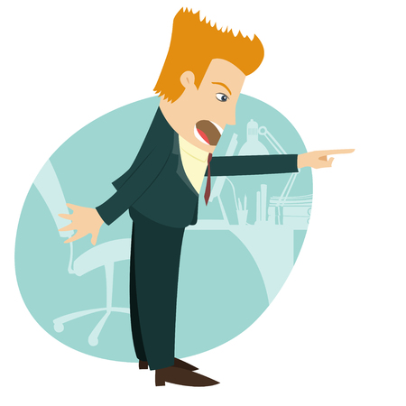 Vector illustration Angry businessman screaming and pointing. Flat style Illustration