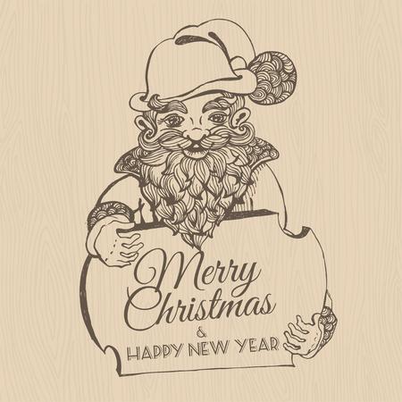 dwarf christmas: Vector illustration Hand drawn doodle Christmas dwarf holding festive signboard