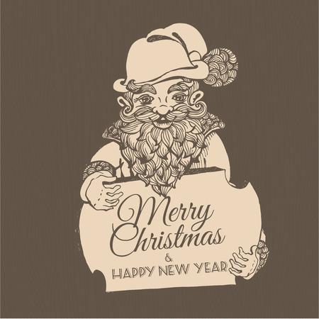 dwarf: Vector illustration Hand drawn doodle Christmas dwarf holding festive signboard