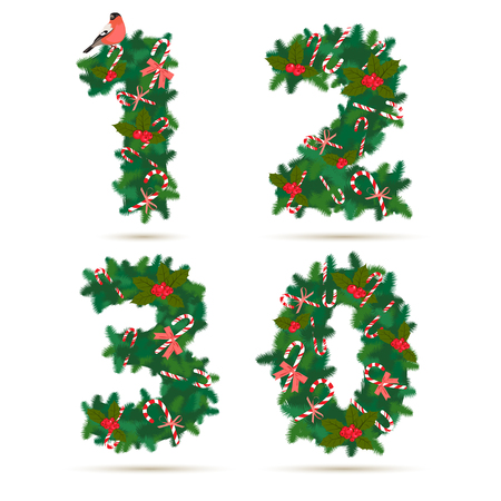 2 0: Vector illustration Christmas festive wreath numbers: 1, 2, 3, 0