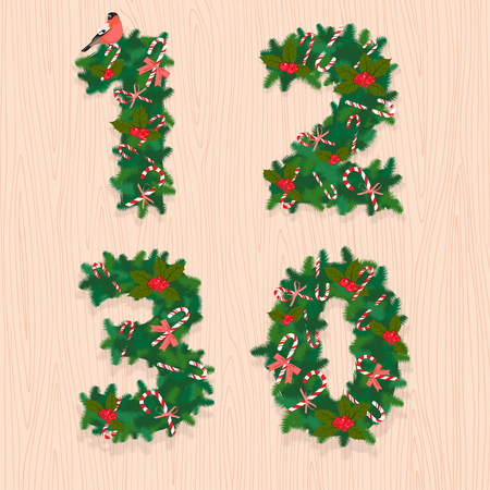 2 0: Vector illustration Christmas festive wreath numbers: 1, 2, 3, 0. Wooden background