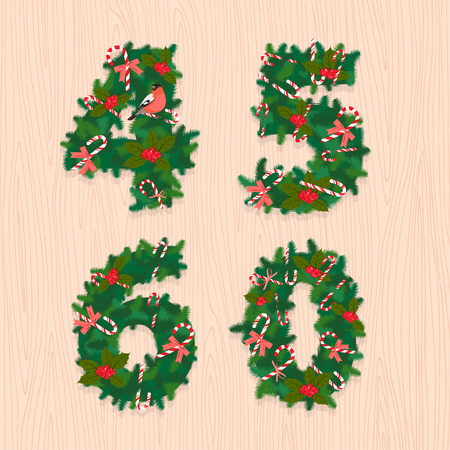 5 0: Vector illustration Christmas festive wreath numbers: 4, 5, 6, 0. Wooden background