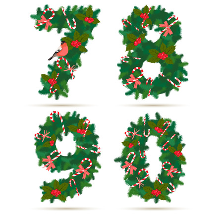 0 9: Vector illustration Christmas festive wreath numbers: 7, 8, 9, 0. Wooden background