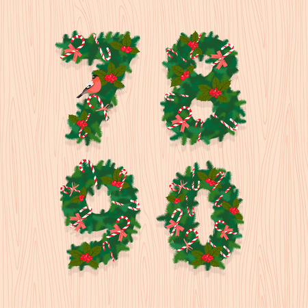 7 8: Vector illustration Christmas festive wreath numbers: 7, 8, 9, 0. Wooden background
