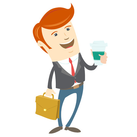 brief: Vector illustration Hipster office man holding coffee and brief case. Flat style