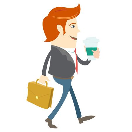 brief: Vector illustration Hipster office man walking and holding coffee and brief case. Flat style Illustration