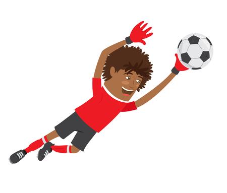 Ilustración divertida jugador de fútbol americano del fútbol africano portero que llevaba la camiseta roja en ejecución salta para la bola y la sonrisa