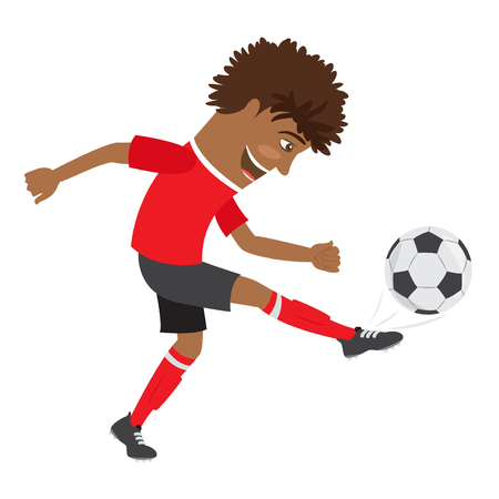 illustration Funny African American soccer football player wearing red t-shirt running kicking a ball and smiling