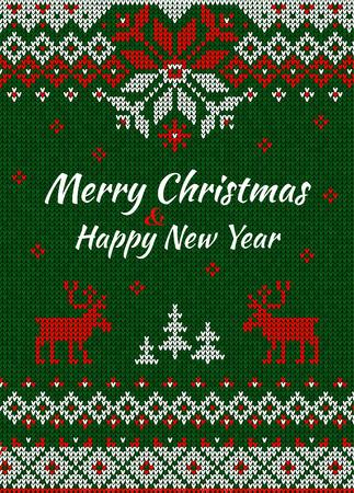 illustratie Gebreide Wenskaart of uitnodiging aan X-mas party. Vrolijk kerstfeest gelukkig nieuwjaar. Handgemaakte breien achtergrond patroon met tekst en Scandinavische ornamenten. Wit, rood, groen kleuren. vlakke stijl