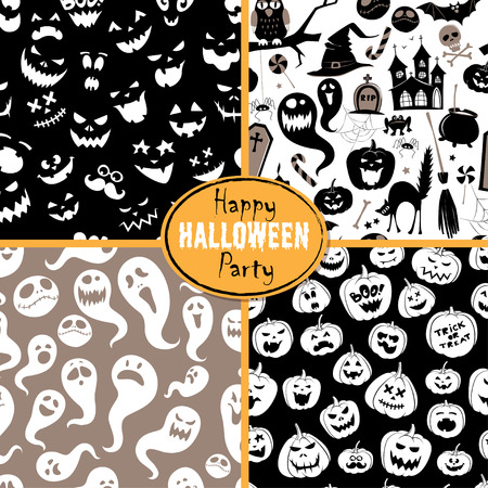 scull: illustration Set of seamless background abstract pattern for halloween with pumpkin,  candy, ghost, spider, bat, witch hat, cat, broom, cauldron, owl, castle, house, scull, coffin, bones. Flat silhouette style