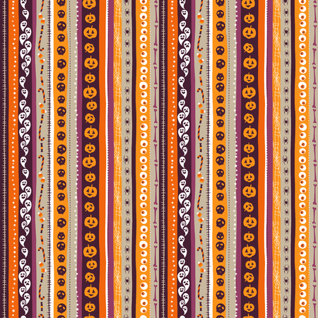 illustration Orange, white and pirple seamless background abstract striped pattern for halloween with pumpkin,  candy, ghost, spider, cauldron, scull, bones, zombie eyes . Flat silhouette style