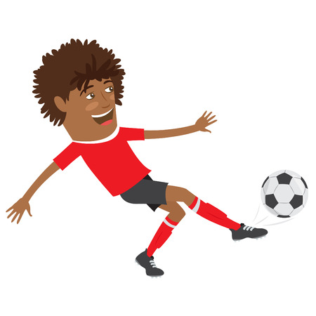 red tshirt: illustration Funny African American soccer football player wearing red t-shirt running kicking a ball and smiling