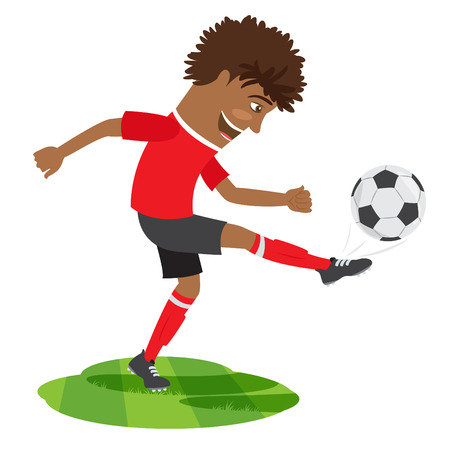 Vector illustration Funny African American soccer football player wearing red t-shirt running kicking a ball and smiling Illustration