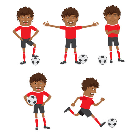 Vector illustration Funny African American soccer football player wearing red t-shirt running, standing and Illustration