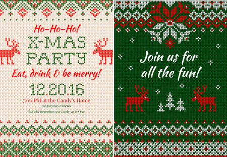 side border: Vector illustration Knitted Invitation to the Christmas X-mas party. Front and back sides. Handmade knitting abstract background pattern with text and scandinavian ornaments. White, red, green colors. Flat style Illustration