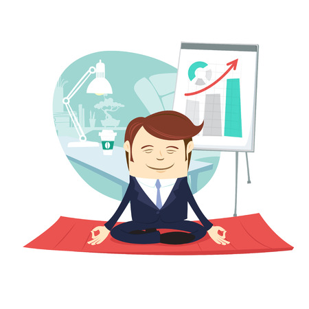 Vector illustration Funny business man wearing suit doing yoga meditating pose lotus in front his office workplace. Flipcart with up arrow behind. Flat style, white background