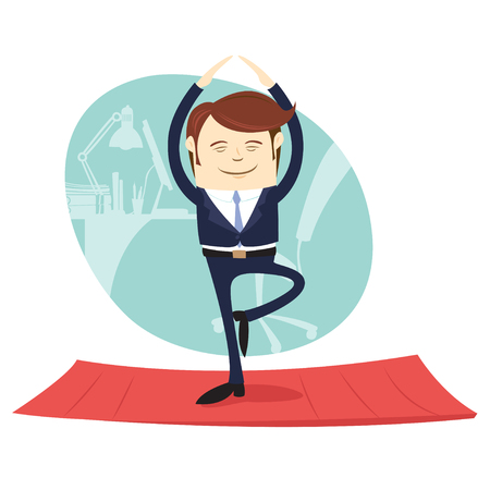 Vector illustration Funny business man wearing suit doing yoga meditating pose tree in front his office workplace. Flat style, white background
