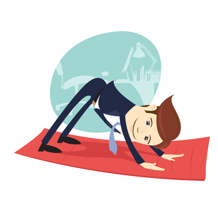Vector illustration Funny business man wearing suit doing yoga meditating downward facing dog  pose in front his office workplace. Flat style, white background Illustration