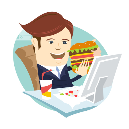 Vector illustration Funny business man eating sandwich burger at his office workplace. Flat style