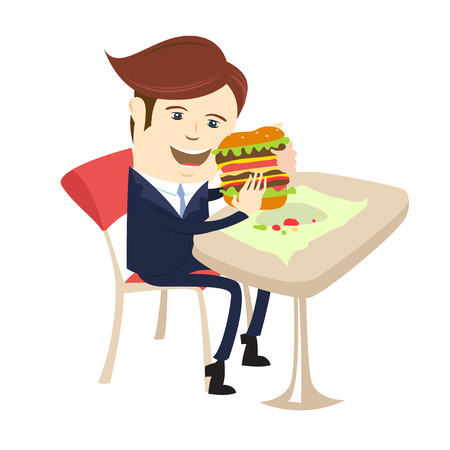cafe table: Vector illustration Funny business man eating sandwich burger at cafe table. Flat style