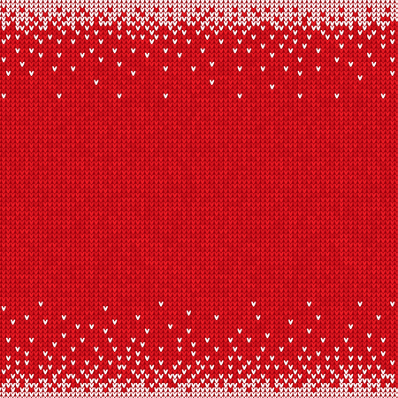 Vector illustration Handmade knitted seamless abstract background red pattern with white border frame