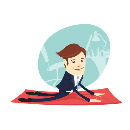 Vector illustration Funny business man wearing suit doing yoga meditating upward facing dog  pose in front his office workplace. Flat style, white background Illustration