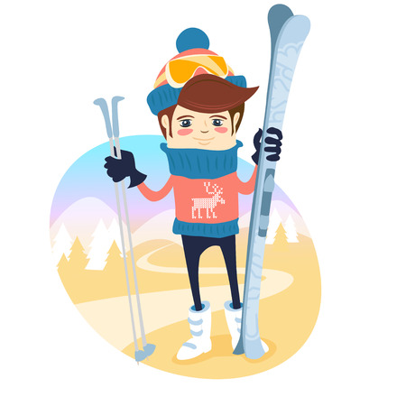 Vector illustration Funny skier standing in front of slopes with his ski and poles wearing knitted hat and sweater with deers. Flat style Illustration