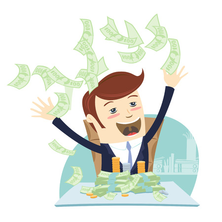 Vector illustration I am rich! Happy young businessman in formalwear throwing money up while sitting at a desk full of paper currency and coins. Flat style