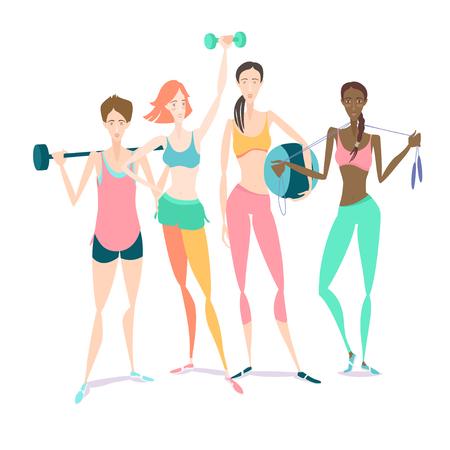 Illustrazione vettoriale Gruppo di bella sorridente giovani donne in piedi tenendo dumbbel fitness, bilanciere, fitball portare di sport del reggiseno di abbigliamento, pantaloncini, calze in palestra