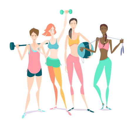 group fitness: Vector illustration Group of Beautiful smiling young women standing holding fitness dumbbel, barbell, fitball wearing sport clothing bra, shorts, tights at gym Illustration
