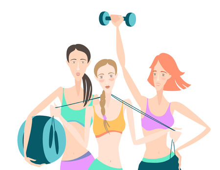 group fitness: Vector illustration Group of Beautiful smiling young women standing holding fitness dumbbel, fitball, skipping rope, wearing sport clothing bra, shorts, tights at gym