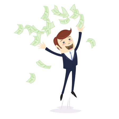 Vector illustration I am rich! Happy young businessman in formalwear throwing money up. Flat style Ilustração