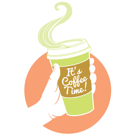 its: Vector illustration hand holding dispossable coffee cup. Cardboard cover with text Its coffee time!
